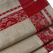 A beautiful set of 5 French Damask fabric tea towels,early 20th.