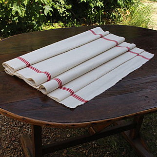Large French vintage linen or metis coupon with red stripes.