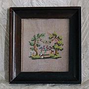 France XIX : a charming little glass bead  embroidery,Romantic era.