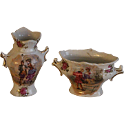 Circa 1900 : set of 2 Austrian porcelain vases for doll's house adorned with gallant scenes.
