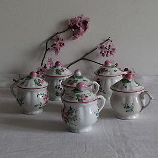 France late 19th: a delightful set of 6 antique « pots à crème » Luneville faience .