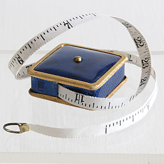 Charming little vintage French tape measure covered with blue rhodoid.