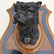 France late 19th century: Beautiful dog's head « Terrier «in brown patina metal on a wooden escutcheon,from Prosper Lecourtier.