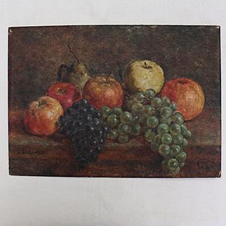 Fruit still life , French oil on panel,signed L. Seillard,circa 1930.