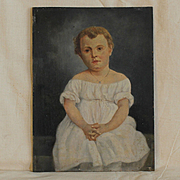 France 19th century : charming painting «Young child portraitwith a white dress»,oil on board by Adolphe de Specht.