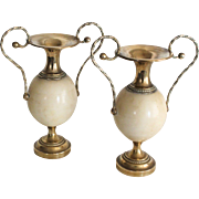 France circa 1920 : Lovely little pair of alabaster and golden brass vases for doll's house.
