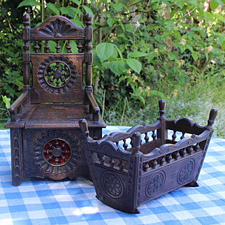 Charming set of 2 ancient French Breton furnitures for doll's house,a rocking cradle and a «trunk- armchair».