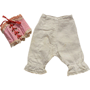 Charming set of ancient French underwear for fashion doll:a small corset and pantaloons.
