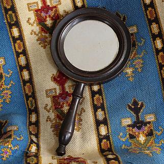 19th century :  French Napoleon III dark wood hand mirror,double sided.