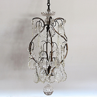 Pretty French '' cage'' chandelier, brass and pampilles ,circa 1920.