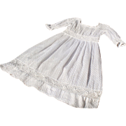 Exquisite antique French plumetis and lace little girl's or large doll's dress,years 1880-1900.