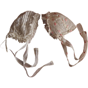 Set of two adorable antique French bonnets for baby or large doll.Circa 1880-1900.