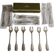 France :12 Christofle Silver Plated oyster forks Cluny model,second half of the 20th century.