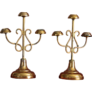 France late 19th charming pair of miniature golden brass candelabra for doll house or chapel.