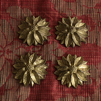 France late 19th century set of 4 ancient golden bronze elements with floral decor,''cache-pitons''.