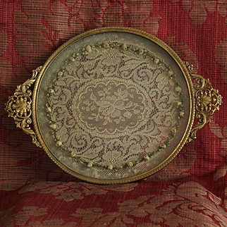 France early 20th century pretty bronze and glass boudoir tray with a piece of lace ,Louis XVI style.