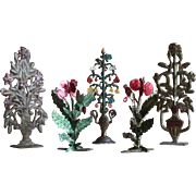 Set of 5 ancient French Miniature Dollhouse flowers bouquet in metal urns,and flowery groves.