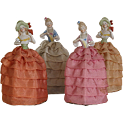 Lovely set of four French porcelain half dolls forming lampshade, 1925 style.