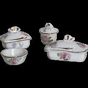 Lovely French miniature porcelain toilette set , 4 pieces for dollhouse.