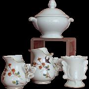 Set of 4 Limoges or Paris porcelain pieces for doll house.