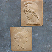 France 19th century,set of 2 bas-relief models in embossed cardboard,'' Pâris and Ceres '',Monrocq edition.