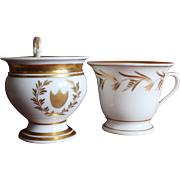 Two large French Empire Paris porcelain chocolate cups,early 19th century.