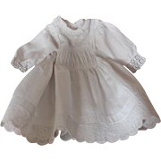 Charming Antique French white cotton and lace dress for little girl or large doll.Circa 1900.
