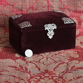 Charming antique small French purple velvet sewing box.Circa 1900.