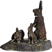 Antique Vienna or Nuremberg polychrome lead : amusing group of three rabbits,late  19th century.
