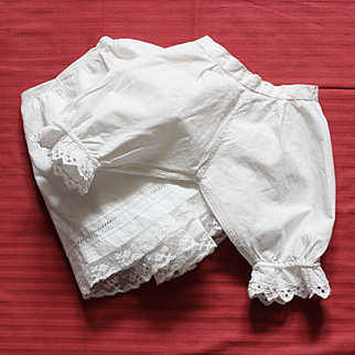 Pretty set of  antique French undergarments for doll: petticoat and pantaloon