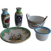A set of 5 small French  porcelain bibelots for dollhouse.