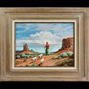 "Listed Artist GORDON G. POND Native American ""Navajo Shepherdess"" Oil Painting"