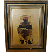 Haitian Oil Painting ~~Woman with Basket of Bananas~~