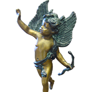 Vintage Solid Bronze Cherub Statue Larger Size 18 inches high Putti Circa