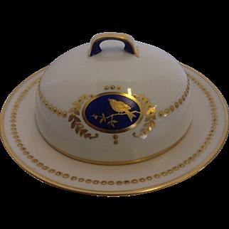 Vintage Hand Painted Porcelain Butter Dish Bird Pattern Signed H. Finn