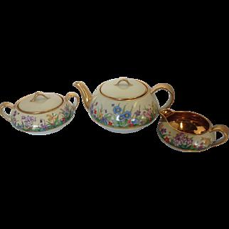 Vintage   Porcelain Hand Painted Tea Set Signed H Finn Newark New Jersey Floral Design