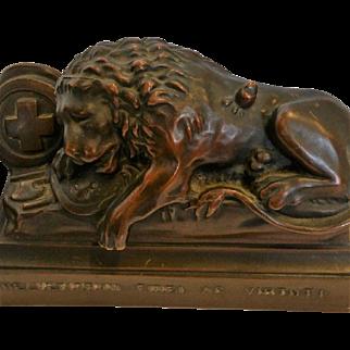 "Bookends ""LUCERN LIONS"" Swiss Bronzed"