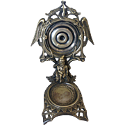 Victorian Silver Plate Pocket Watch & Ring Stand with Winged Dragons & Gnome
