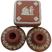Red & White wedgwood Covered Box & Candle Sticks Made in England