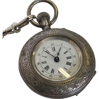 Ladies Silver Plated Pocketwatch Ornate Carvings