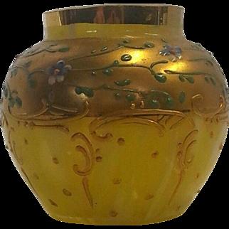Hand Painted Enameled Art Glass Vase Very Nice