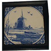 Delft Tile Windmill Pattern 5 3/4 by 5 3/4