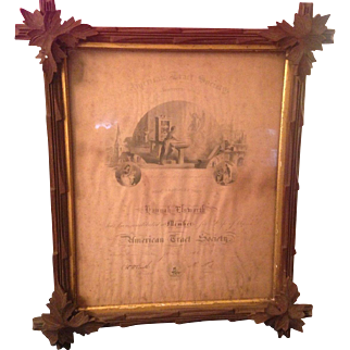 Dated 1868 American Tract Society Framed Life Time Membership Award Great Frame