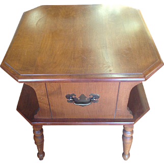 Vintage Heywood Wakefield Table, End, Side, Solid Wood, with Label