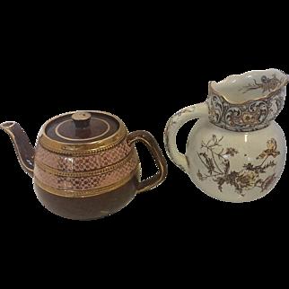 Doulton Burslem China Pitcher, & English Tea Pot