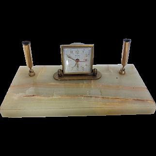 Vintage Automatic Calender Desktop Clock with Pen Set, Scottco 2 - Tone, Germany
