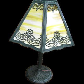Vintage EM & Co 6-Panel Table Lamp Restored Mint Condition