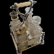 Victorian Pressed Glass Cruet Set 5 Pieces Silver Plate Holder