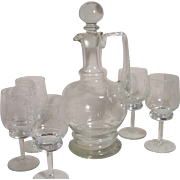 Crystal Decanter and 5 Wine Glasses