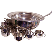 Oneida Silverplate Punch Bowl, Ladle and 12 Cups